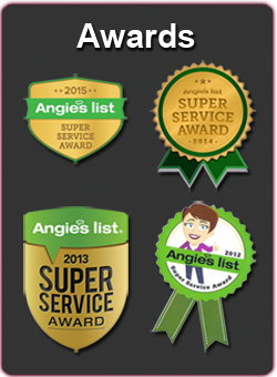 Award Badges from Angie's List for years 2012 through 2015 for superior stucco and stone masonry services