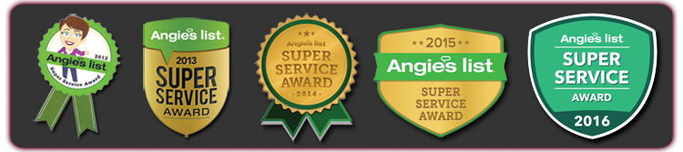 2012 to 216 - 5 years of angie's list super service awards - Badges